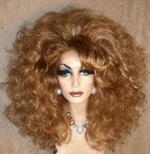 Drag Queen Wig Big Teased Out Lace Front Auburn Blonde Hi Lites Curly Soft