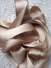 "100% PURE SILK SATIN RIBBON [36MM] 1 1/2"" WIDE  CHAMPAGNE 3YDS"