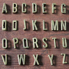 "130 Bronze Tone Alphabet Letter ""A-Z"" Slide Charm Beads Fit 7mm Wristbands"
