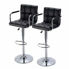 Black Bar Stools PU Leather Chair Adjustable Counter Swivel With Arm Set Of 2