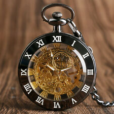 Luxury Roman Numerals Open Face Mechanical Hand-winding Pocket Watch Chain Gift