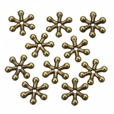 Antique Brass Snowflake Spacer Metal Beads 11mm Pack of 10 (B109/6)