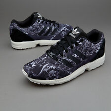 new adidas  ZX FLUX womens running shoes sz 8 run gym Black White Print sneakers