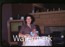 1950s red border Kodachrome photo slide Lady with baby TV set television