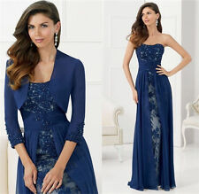 Blue Chiffon Mother Of The Bride Formal Evening Dresses Floor Length With Jacket