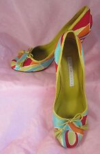 Pucci pattern Pura Lopez shoes, size 39 c, silk & leather heels