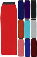 WOMENS LADIES JERSEY LONG MAXI SKIRT GYPSY STRETCHY CASUAL SKIRT SIZE 8 - 14