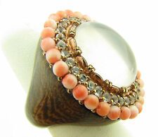 Rarities Carol Brodie Rose Sterling Quartz Cabochon Coral Topaz Wood Ring NWT