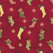 #I205 Christmas Tis the Season Quilt Fabric  FAT QUARTER Fabri-Quilt Stocking