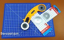 45mm Rotary Cutter Blade A4 Cutting Mat Leather Craft Quilting Tool Kit Set