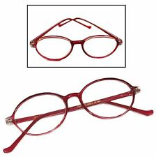 Aggie Classic Vintage Style Reading Glasses Polished Oval Berry Frame +2.25 Lens