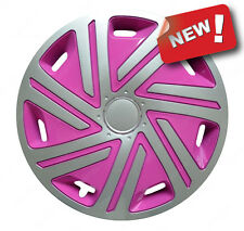 "4x14"" Pink Wheel trims fit Ford Ka Fiesta SILVER - PINK 14''"