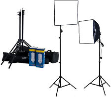 Twin Softbox Fluorescent Bulb 5400K Daylight Continuous Lighting Kit Padded Case