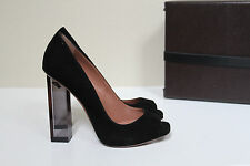 New sz 11 / 41 Azzedine Alaia Black Suede Peep Toe Platform Pump Clear Heel Shoe
