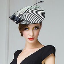 Womens Chic Straw Arrow Fascinator Cocktail Saucer Hat Party Wedding Headpiece