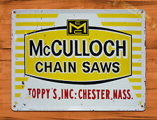 "TIN-UPS TIN SIGN ""McCulloch Chain Saws""  Rustic Garage Tool Wall Decor"