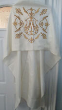 NEW-Humeral Veil-White w/ Gold Ave Maria Theme & Gold Flowers-Priest-Benediction