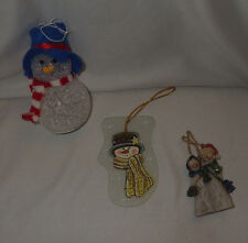 "Lot of 3 Christmas Ornaments Snowman Decoration Holiday 3-5"" Tall Ornament"