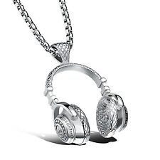 Men's jewelry fashion music headset stainless steel pendants necklace silver 24'