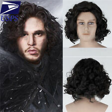 Hot Cosplay Game of Thrones Jon Snow Short Black Curly Synthetic Anime Men Wig