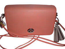 Coach Legacy Perforated Leather Penelope Shoulder Crossbody Handbag 23404 Coral