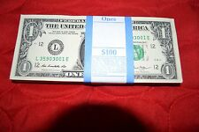100 - $1 Dollar Bills Year: 2013 - L12, UNC, Sequential, Original Paper Strap
