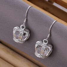 Women 925 Sterling Silver Plated Crown Carve Hook Dangle Studs Earrings Jewelry