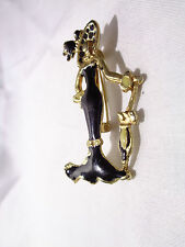 VINTAGE GOLD WHITE BLACK ENAMELED FASHION FRENCH COUTURE LADY DRESS BROOCH