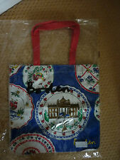 BODEN COTTON CANVAS BLUE MULTI PLATES SHOPPING BAG SHOULDER BAG BOOK BAG BNWT