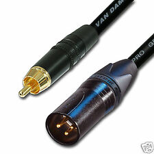 Gold RCA to Male XLR audio cable. Long XLR to Phono Lead. Van Damme. Subwoofer
