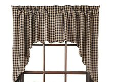 New Country Primitive Homespun NAVY BLUE & TAN CHECK CAFE SWAGS Window Curtains