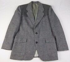 (40R) Vintage Pendleton Suede Elbow Shoulders 100% Wool Tweed Gray Blazer Jacket
