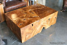 "47"" Rectangular Coffee Table Solid Teak Wood slice cuts contemporary unique"