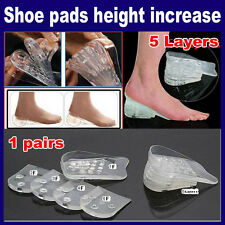 """Max Height 2"""" Tall Insoles Gel Shoe Heel Foot Support Lifts Inserts 5 Layers"""