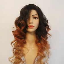 Human Hair Natural Wavy Wig 3 Tone Ombre Black/Auburn/Blonde 22""