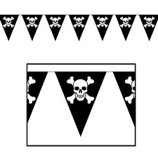 Black JOLLY ROGER PIRATE  STREAMER Banner Birthday Party Decoration