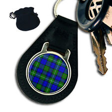 MACKENZIE  SCOTTISH CLAN TARTAN LEATHER KEYRING / KEYFOB