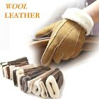 NEW KHAKI MEN'S (100% REAL LEATHER WOOL) WINTER WARM GLOVES
