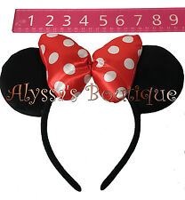 *NEW* 1 Minnie Mouse Ears Headband With Puffy Red Bow Mickey Birthday Party