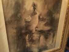 ORIGINAL INK PAINTING ABSTRACT BY E.KALINOWSKI, FRAMED & SIGNED LISTED ARTIST