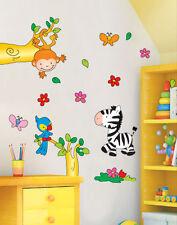 Wandtattoo Wandsticker XL süsse Tiere Zoo Affe Zebra Baum Blume Kinderzimmer 969
