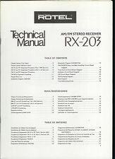 Rare Original Factory Rotel RX 203 AM FM Stereo Receiver Service  Manual
