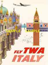 "TWA Jets Airline 8.5"" x 11""  Travel Poster [ ITALY ] -"