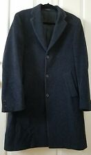 EUC JOHN VARVATOS Wool & Alpaca Topcoat Black Coat Trench Peacoat Size 38 R
