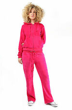 Womens Ladies Velour Tracksuit Jogging Full HOODED Yoga Sport Gym Suit