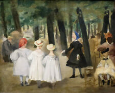 """oil painting handpainted on canvas """"Children in the Tuileries Garden""""@N5881"""