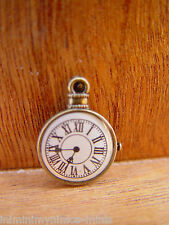 DOLL HOUSE SCALE SMALL 'ANTIQUE BRONZE' STYLE METAL CLOCK !! TIMES TICKING !!