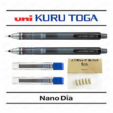 2 x Uni Kuru Toga Self Sharpening Mechanical Pencil Smoke + 24 Leads + 5 Erasers
