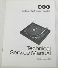 BIC TURNTABLE SERVICE MANUAL, BLOW UP DIAGRAM & PARTS LIST FOR THE BIC MODEL 920