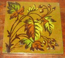 19Century  BARBOTINE TILE SHERWIN & COTTON FLOWER LEAVES
